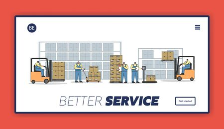 Work Process In Warehouse With Work Personnel. Website Landing Page. Workers Are Scanning, Weighting, Loading And Unloading Parcels. Web Page Cartoon Linear Outline Flat Style. Vector illustration