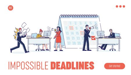 Concept Of Work Deadlines. Website Landing Page. Working Process In Office. Boss And Manager Are Shouting At Employees To Follow Deadlines. Web Page Cartoon Linear Outline Flat Vector Illustration