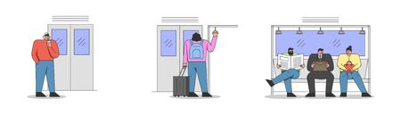 Men and Women Travell By Public Transport. Human Are Sitting and Standing in Metro. Male And Female Characters Are Riding Subway On Their Way. Set Of Cartoon Linear Outline Flat Vector Illustrations Illusztráció