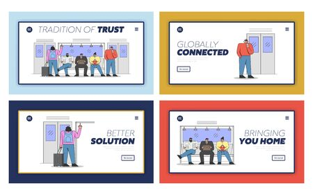 Men and Women Are Travelling By Public Transport. Website Landing Page. Male And Female Characters Are Riding Subway On Their Way. Set Of Web Pages Cartoon Linear Outline Flat Vector Illustrations Illusztráció