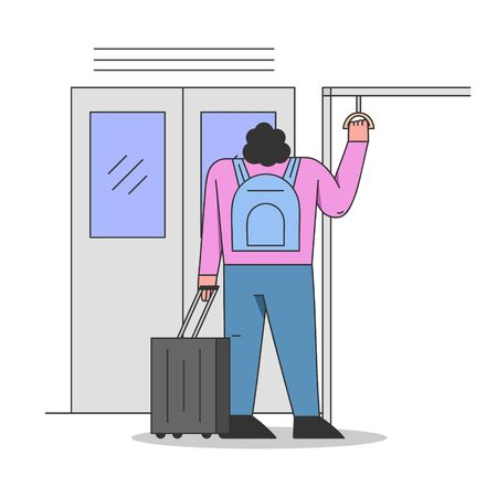 Concept Of Environmentally Public Transport. Woman Character With Luggage Riding Metro, Subway or Underground Train. Woman Is Using Public Transport. Cartoon Linear Outline Flat Vector Illustration