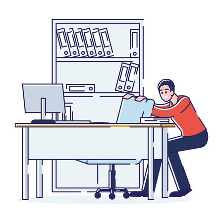 Concept Of Stressed Office Situations, Work And Staff. Young Employee Is Hiding Behind The Armchair In The Office. Employee Scared Of His Boss. Cartoon Linear Outline Flat Style. Vector Illustration