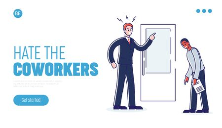 Concept Of Office Work And Personnel. Website Landing Page. Young Angry Boss Is Scolding Employee In The Office. Chief Has Flipped Out. Web Page Cartoon Linear Outline Flat Style. Vector Illustration