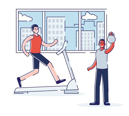 Trainings In Gym Concept. Men Are Training In Gym. Colleagues Do Exercises Lifting Weight, Running On Treadmill. People Training in the Fitness Center. Cartoon Linear Outline Flat Vector Illustration Ilustração Vetorial