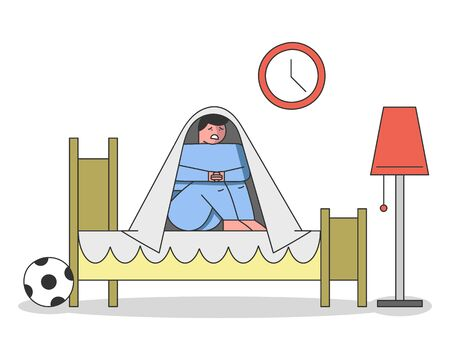 Concept Of Kids Bad Dreams And Nightmares. The Boy Has Had A Horrible Dream And Sit Under The Blanket. Frightened Kid Trembling Of Scare On The Bed. Cartoon Linear Outline Flat Vector Illustration