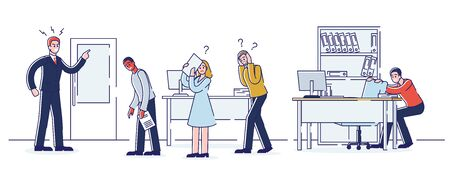 Concept Of Office Work And Staff. Young Angry Boss Is Shouting At Employees In The Office. Employer Has Flipped Out Because Of Failure Deadline. Cartoon Linear Outline Flat Style. Vector Illustration
