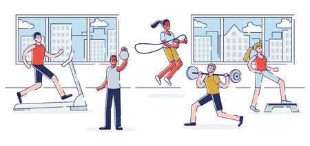 Trainings In Gym Concept. Group Of People Are Training In The Gym. Characters Are Lifting Weight And Doing Exercises. Modern Fitness Club Interior. Cartoon Linear Outline Flat Vector Illustration