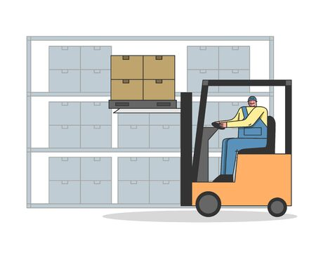 Work Process In Warehouse With Professional Work Staff. Man Is Working On Forklift, Loading And Unloading Parcels, Meet Deadlines Of Shipment Goods. Cartoon Linear Outline Flat Vector illustration