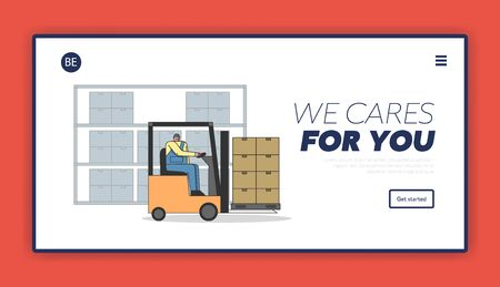 Work Process In Warehouse With Working Staff. Website Landing Page. Male Character Is Working On Forklift, Meet Deadlines Of Shipment Goods. Web Page Cartoon Linear Outline Flat Vector illustration Ilustração