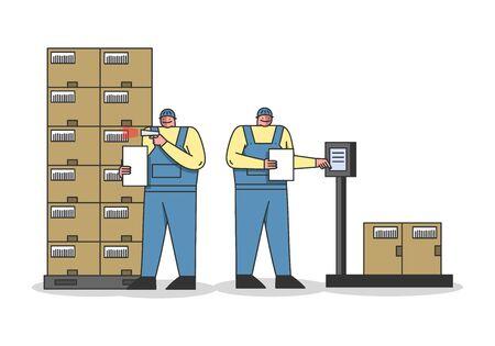 Processus de travail dans l'entrepôt avec le personnel de travail. Les travailleurs pèsent, numérisent les colis par scanner de codes-barres, respectent la date limite d'expédition des marchandises. Style plat de contour linéaire de dessin animé. Illustration vectorielle