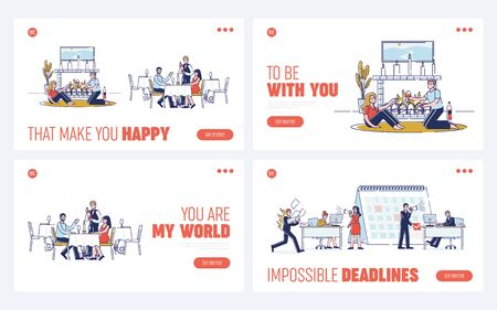 Concept Of Romantic Dinner. Website Landing Page. Happy Couples Have Dinner In Fashion Restaurant And At Cozy Interior With Fireplace. Web Page Cartoon Linear Outline Flat Vector Illustrations Set