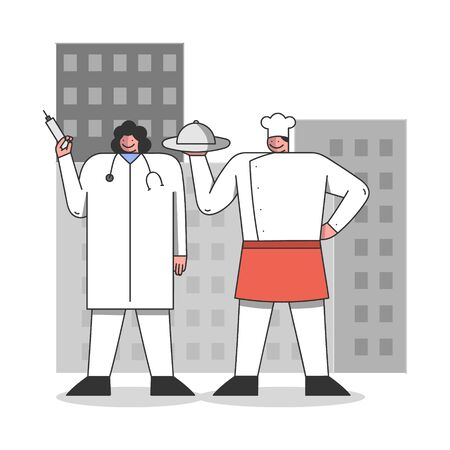 Labour Day Concept. People Of Different Professions Prepare To Celebrate The Holiday. Doctor And Chef In Uniforms Standing On The Cityscape Background. Cartoon Linear Outline Flat Vector Illustration Vecteurs