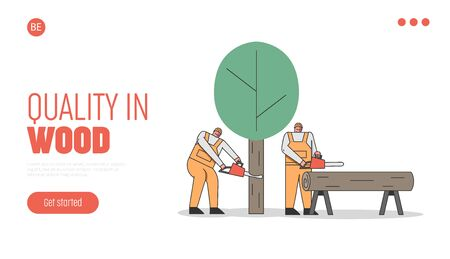 Concept Of Sawmill. Website Landing Page. Professional Lumberjacks Cutting Trees By Chainsaw For The Further Transportation And Processing. Web Page Cartoon Linear Outline Flat Vector Illustration Vectores
