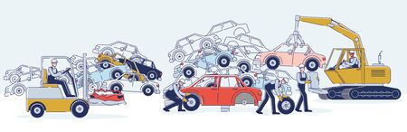 Concept Of Utilization Of Vehicles. Characters Work On Junkyard Sorting Old Used Automobiles And Piles Of Damaged Cars. Characters Dismantling Cars. Cartoon Linear Outline Flat Vector Illustration Vektorové ilustrace