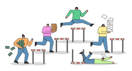 Concept Of Run Steeplechase Competition Metaphor. Cheerful Characters Is Trying To Win Jumping Over the Barrier