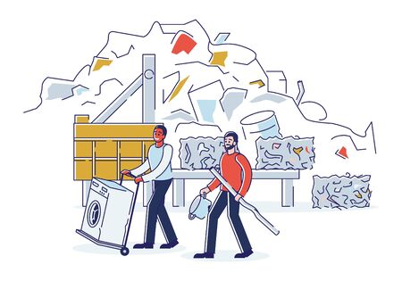 Scrap Metal Concept. People Bring Old Metal Things And Broken Washing Machine On Cart to Metal Recycling Plant. Recycling And Environment Protection. Cartoon Linear Outline Flat Vector Illustration