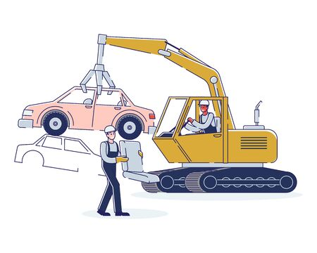 Concept Of Utilization Of Vehicles. People Work On Junkyard Sorting Piles Of Damaged Cars. Character Working On Junkyard Machine Crane With Open Claw. Cartoon Linear Outline Flat Vector Illustration