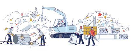 Schrott-Metall-Konzept. Arbeiter arbeiten auf Schrottplatz und sortieren Haufen von Altmetall. Die Leute bringen alte Metallgegenstände und kaputte Technik in die Recyclinganlage. Karikatur-linearer Umriss-flache Vektor-Illustration Vektorgrafik