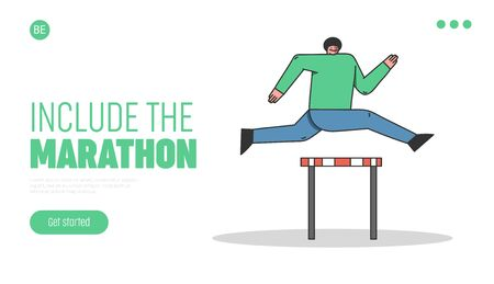 Steeplechase And Sports Competitions Concept. Website Landing Page. Sportsman Take Part In Run Competition. Man Try To Win Jumping Over the Barrier. Web Page Cartoon Linear Flat Vector Illustration Illustration