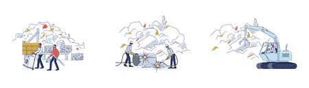 Scrap Metal Concept. Workers Work On Junkyard, Sorting Piles Of Scrap Metal. People Bring Old Metal Things, Broken Technique to Recycling Plant. Cartoon Linear Outline Flat Vector Illustrations Set