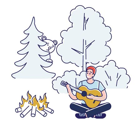 Concept Of Camping And Summer Landscapes. Character Is Having A Good Time Outdoor. Cheerful Boy Is Playing The Guitar And Singing Songs Near Campfire. Cartoon Linear Outline Flat Vector Illustration