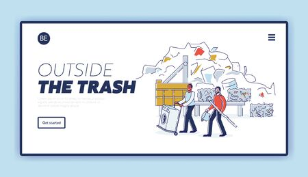 Scrap Metal Concept. Website Landing Page. People Bring Old Metal Things And Broken Washing Machine On Cart to Metal Recycling Plant. Web Page Cartoon Linear Outline Flat Style. Vector Illustration