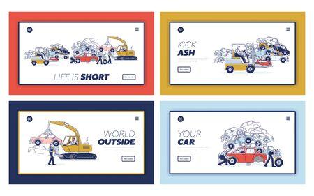 Concept Utilization Process Of Vehicles. Website Landing Page. People Sorting On Junkyard Piles Of Damaged Cars Using Junkyard Equipment. Web Page Cartoon Linear Outline Flat Vector Illustrations Set Illustration