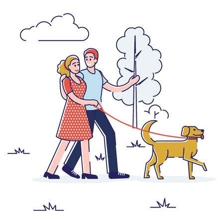 Concept Of Spending Free Time. Happy People Lead Healthy Lifestyle And Have A Good Time Together. Characters Are Walking In City Park With Dog. Cartoon Linear Outline Flat Style. Vector Illustration