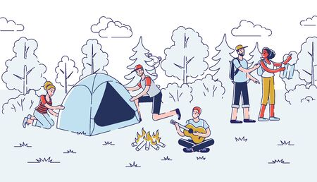 Camping Concept. People Have A Good Time Outdoor. Cheerful Characters Pitching The Tent, Going On Hike, Playing The Guitar And Singing The Songs. Cartoon Linear Outline Flat Vector Illustration