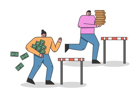 Concept Of Run Steeplechase Competition Metaphor. Cheerful Characters Is Trying To Win Jumping Over the Barrier Losing Money And Carrying Gold Ingots. Cartoon Linear Flat Style. Vector Illustration