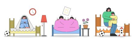 Concept Of Kids Bad Dreams And Nightmares. Children Wake Up Of Nightmare And Sit Under The Blanket. Mother Is Calming Boy Because Of Bad Dream. Cartoon Linear Outline Flat Style. Vector Illustration Ilustración de vector