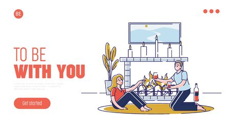 Concept Of Romantic Evening. Website Landing Page. Happy Couple In Love Is Spending Unforgettable Time Together At The Fireplace With Candles. Web Page Cartoon Linear Outline Flat Vector Illustration