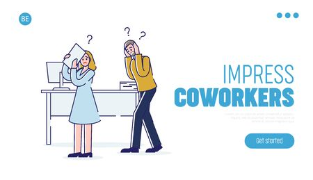 Concept Of Stressed Office Situations. Website Landing Page. Man And Woman Is Covering Head And Ears Because Of Loud Shouting Of Their Boss. Web Page Cartoon Linear Outline Flat Vector Illustration Stock Vector - 142994033