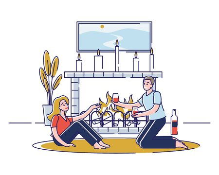 Concept Of Romantic Evening. Young Happy Couple In Love Is Spending Unforgettable Time Together At The Fireplace With Candles. Characters Drink Wine. Cartoon Linear Outline Flat Vector Illustration