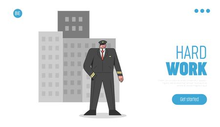 Website Landing Page. Civil Servant Is Preparing To Celebrate Labor Day. Policeman In Uniform