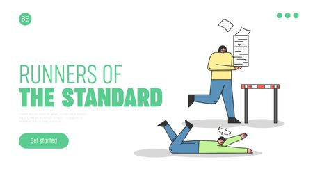 Steeplechase Concept. Website Landing Page. The Losing Character Is Llying On The Floor, Woman With Stack Of Paper