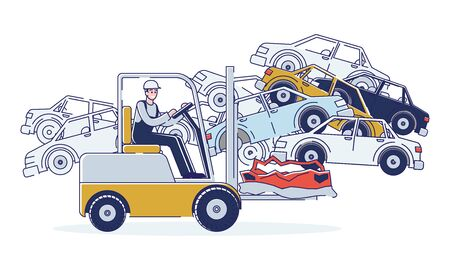 Concept Of Utilization Of Vehicles. Man Is Working On Junkyard Sorting Old Used Automobiles And Piles of Damaged Cars