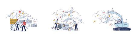 Scrap Metal Concept. Workers Work On Junkyard, Sorting Piles Of Scrap Metal. People Bring Old Metal Things Illustration