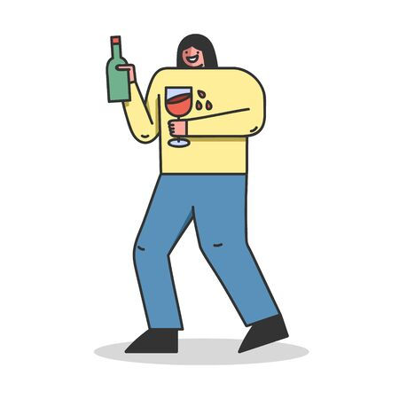 Concept Of Alcoholism, Drink Alcohol. Drunk Female Character is Drinking Wine, Holding Bottle And Glass Of Beverage. Alcohol Addiction Of Population. Cartoon Linear Outline Flat Vector Illustration 向量圖像