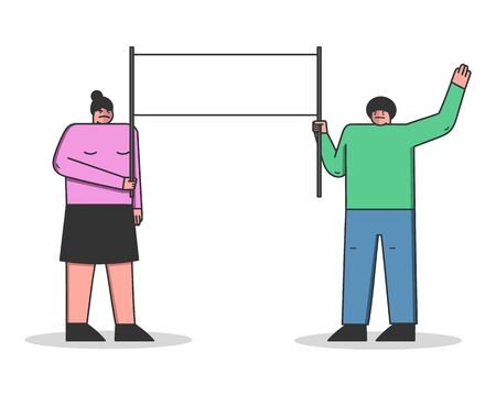 Mass Protest Action Concept. Dissatisfied Protesting Group Strike Holding Big Protest Banner. People Are Demonstrating Together With Placards. Cartoon Linear Outline Flat Style. Vector Illustration