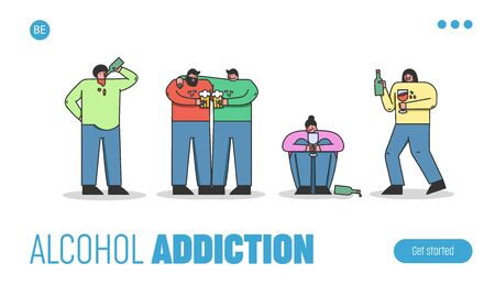 Concept Of Alcoholism, Drink Alcohol. Website Landing Page. Group Of Drunk People Drinking Beer, Wine, Communicating And Having Fun Together. Web Page Cartoon Linear Outline Flat Vector Illustration