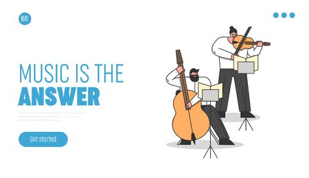 Symphony Orchestra, Classical Music Concept. Website Landing Page. Musicians Play Contrabass And Violin. Artists Play Composition In Theatre. Web Page Cartoon Linear Outline Flat Vector Illustration