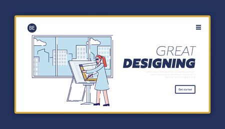 Website Landing Page. Woman Creative Architect Is Drawing New Architectural Project Using Professional Drawing Desk And Scale Ruler. Web Page Cartoon Linear Outline Flat Style. Vector Illustration