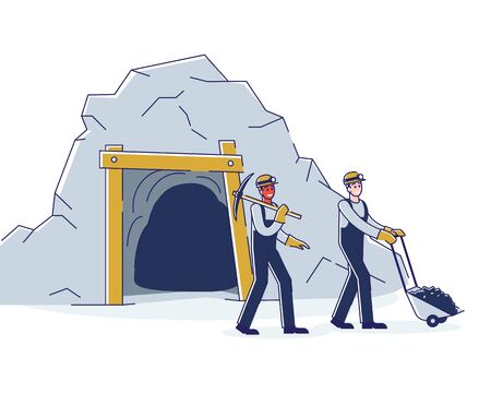 Concept Of Coal Mining, Extraction Industry. Workers are Mining Coal By Means Tools And Carrying It From Mine On Cart To The Warehouse Or Plant. Cartoon Linear Outline Flat Style. Vector Illustration