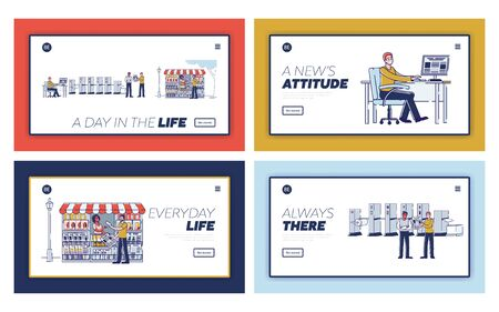 Website Landing Page. Newspaper Production Process With Work Staff, Creating Of Template, Printing With Machine And Get Fresh Newspapers. Web Page Cartoon Linear Outline Flat Vector Illustrations Set