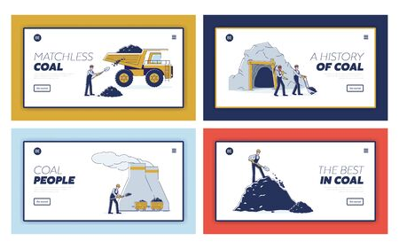 Concept Of Coal Mining. Website Landing Page. Work Crew Mine Coal By Means Equipment For Further Delivery To Thermal Power Plant. Web Page Cartoon Linear Outline Flat Style Vector Illustrations Set
