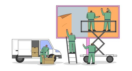 Concept Of Advertisement. Team Of Workers Are Mounting Poster On Big Billboard Using Stairs And Scissor Lift. Outdoor Advertising Poster On the Street. Cartoon Linear Outline Flat Vector Illustration