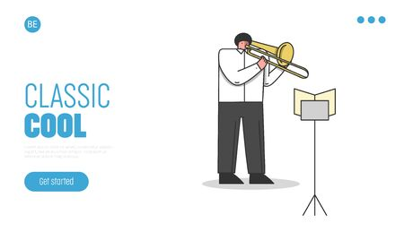 Symphony Orchestra, Musical School Concept. Website Landing Page. Musician Plays Trombone. Male Character Is Playing Composition In Theatre. Web Page Cartoon Linear Outline Flat Vector Illustration