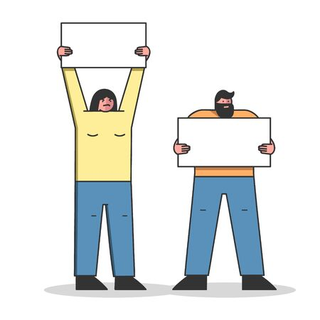 Mass Protest Action Concept. Dissatisfied Man And Woman Strike And Protest Holding Big Banners. People Demonstrating Together With Placards. Cartoon Linear Outline Flat Style. Vector Illustration