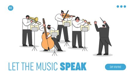 Website Landing Page. Musicians Play Musical Instruments. Group Of Musical Artists Play Instrumental Symphony In Orchestra Led By Conductor. Web Page Cartoon Linear Outline Flat Vector Illustration Vettoriali